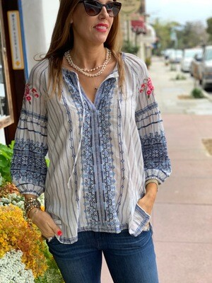Johnny Was Workshop Tie Embroidered Shirt Tunic