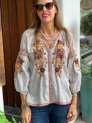 Johnny Was Striped Embroidered Tunic