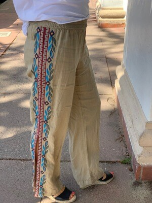 Johnny Was Embroidered Tan Pants