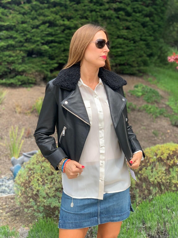 LTH JKT Black Leather Jacket Shearling