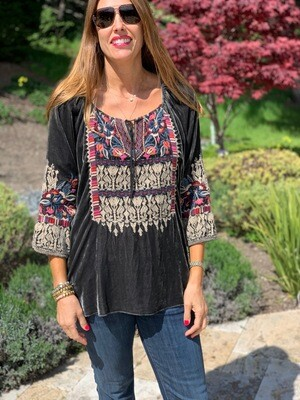 Johnny Was Grey Embroidered Tunic