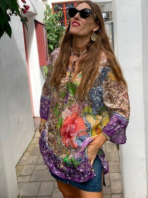 Johnny Was Floral Button Tunic