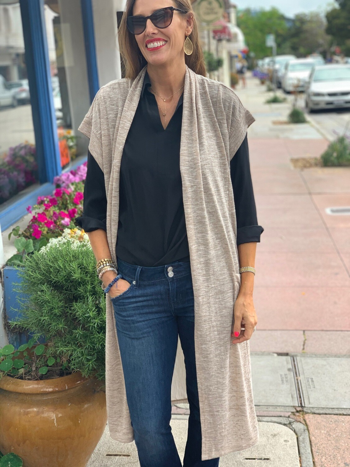 Mystree Heathered Beige Cardigan