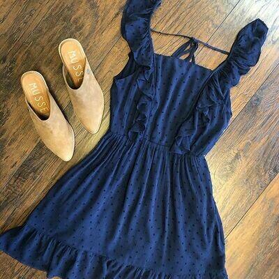Flutter Sleeve Scoop Back Dress