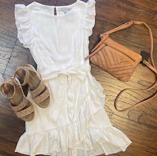 Flutter Sleeve Linen Dress