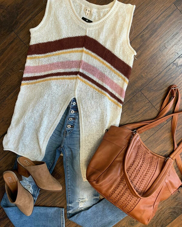 POL Stripe Sleeveless Sweater w Front Split