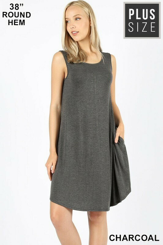 PLUS SIZE ROUND HEM SWING DRESS- Charcoal