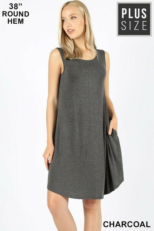 ROUND HEM SWING DRESS- Charcoal