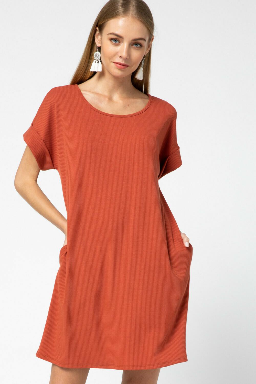 Ribbed scoop neck dress
