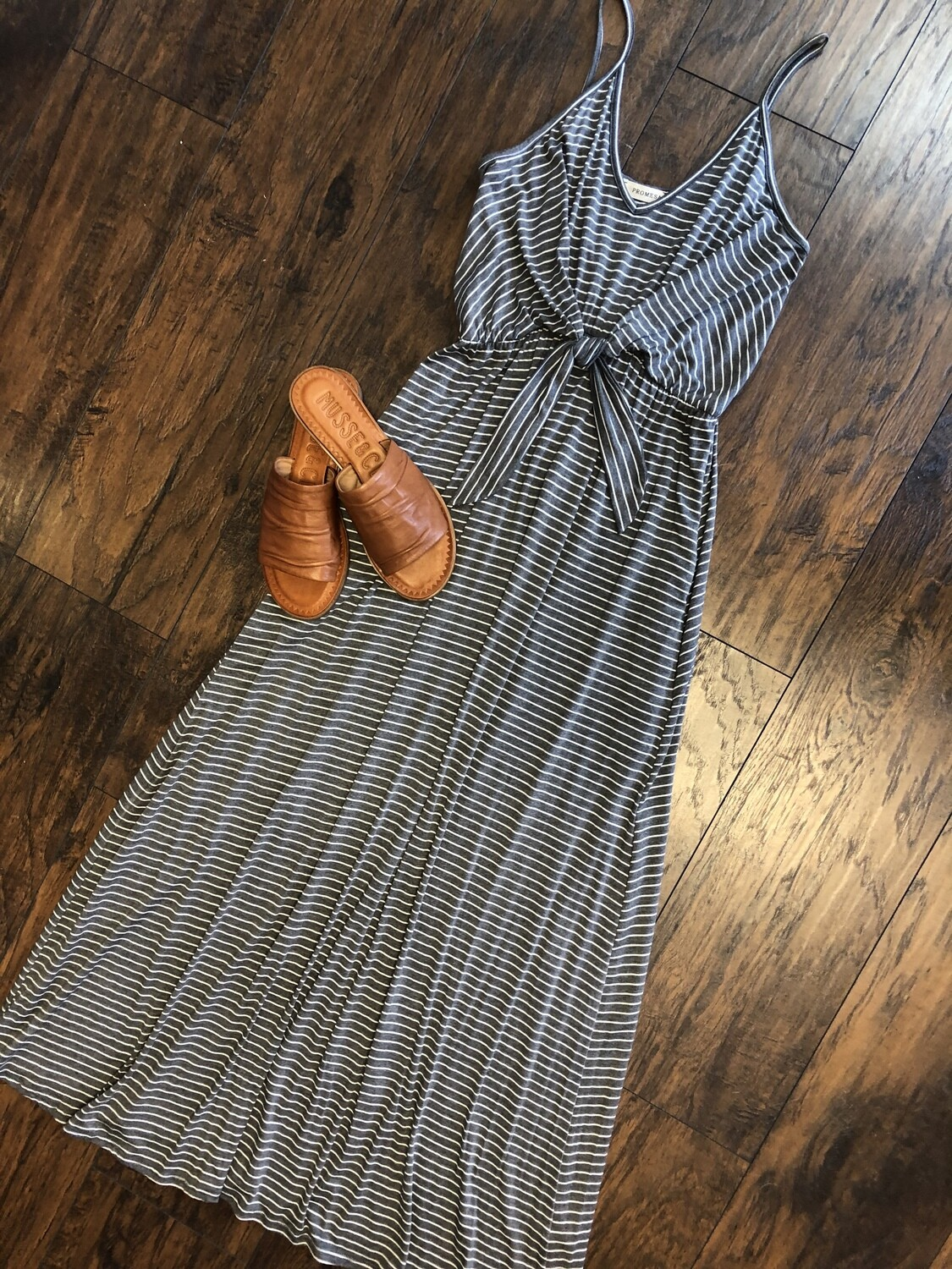 Striped Tie Front Maxi