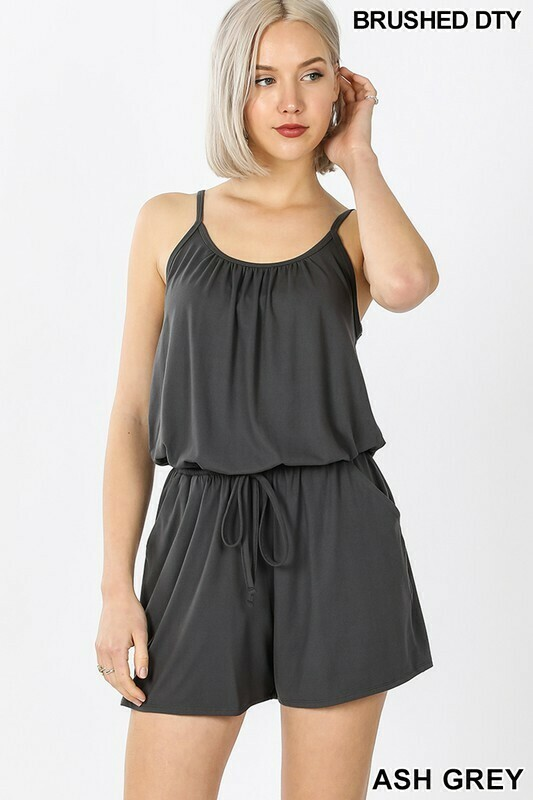 BRUSHED DTY SPAGHETTI STRAP JUMPSUIT WITH POCKET