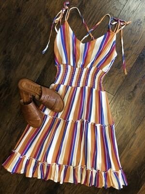 Stripe Tiered mini dress