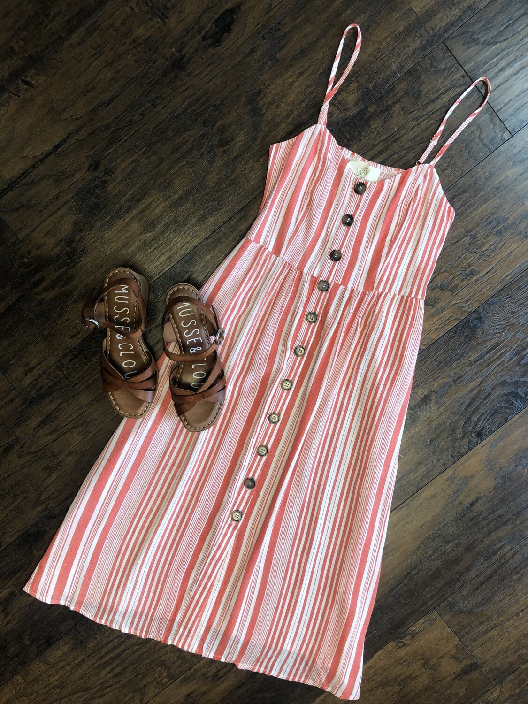 Sleeveless Button Down Midi Dress