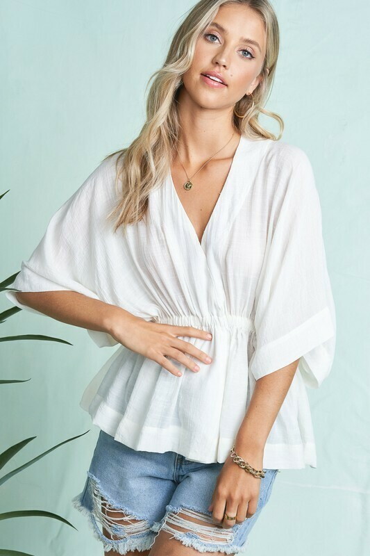V Neck Kimono Sleeve Ruffle Blouse Top