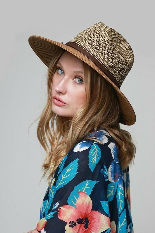 Duo-tone Open Weave Panama Hat