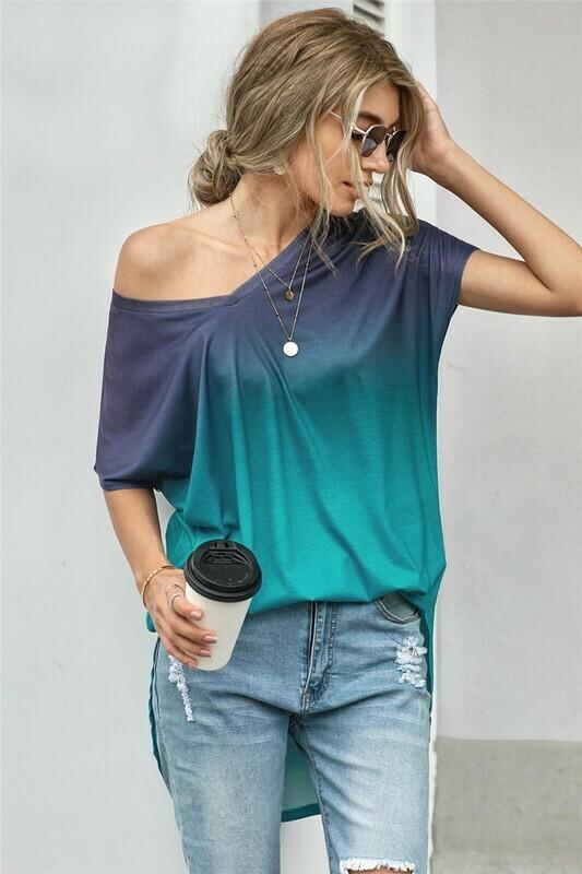 Ombre color block summer shirt