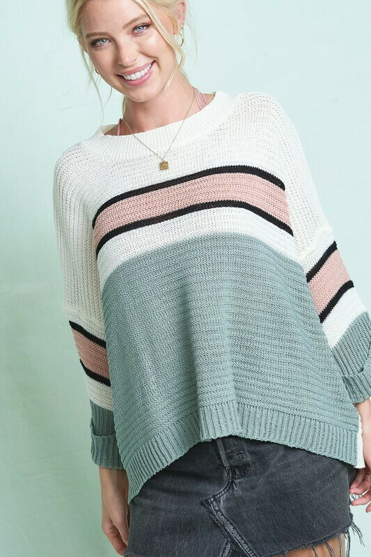 Boat Neck Long Sleeve multi color sweater