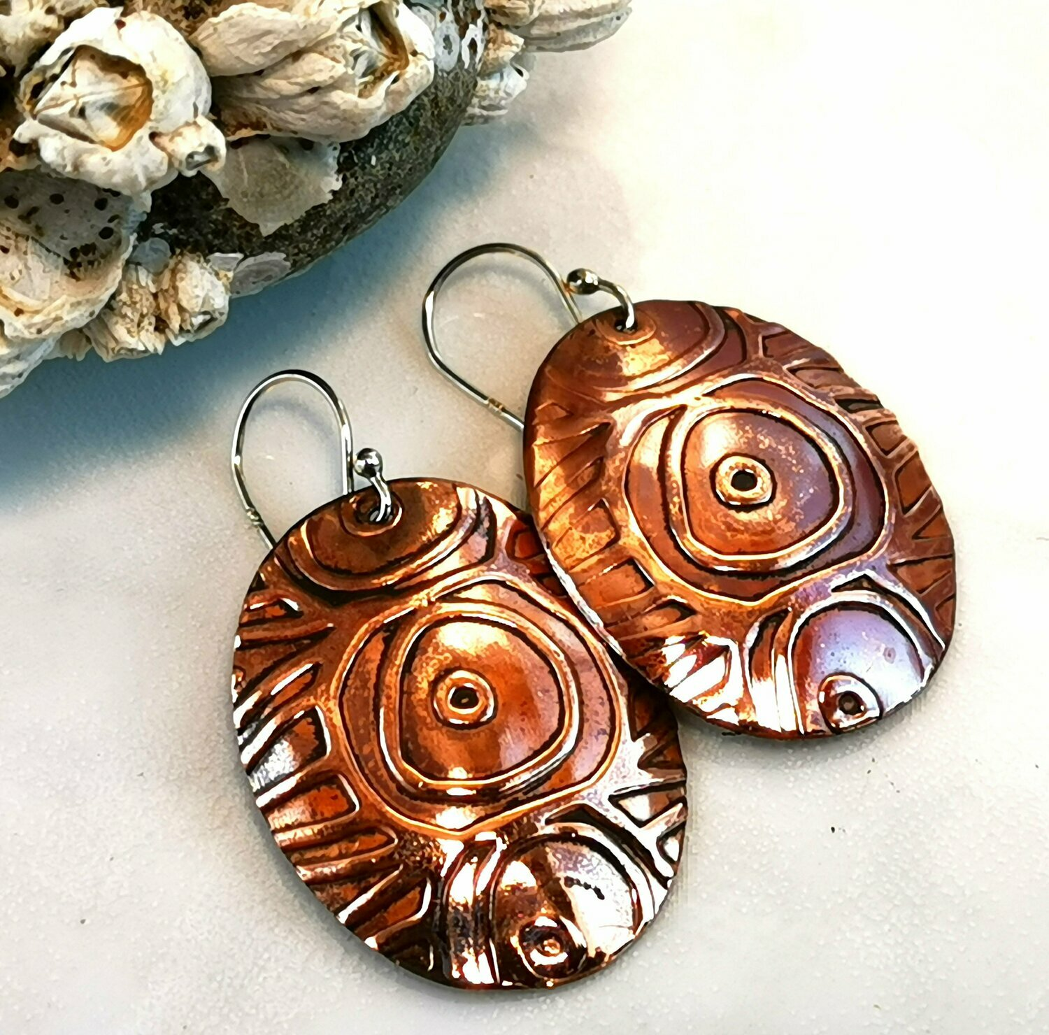 Tribal Jewelry, Tribal Earrings, Oval Jewelry, Oval Earrings, Circle Jewelry, Circle Earrings, Copper Jewelry, Copper Earrings, Oval Copper