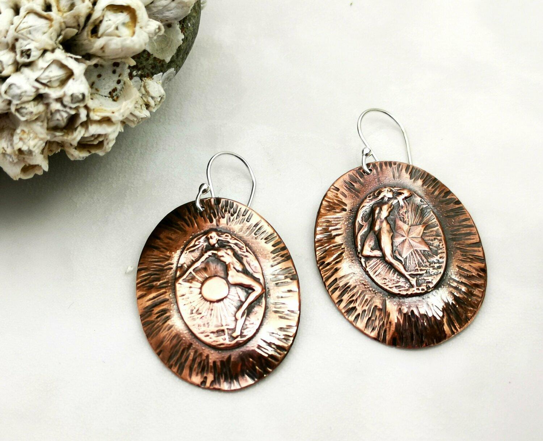 Oval Earrings, Oval Jewelry, Celestial jewelry, Celestial Earrings, Celestial Copper, Copper Earrings, Copper Jewelry