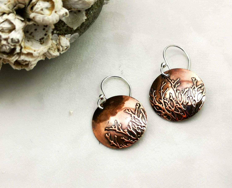 Ocean Jewelry, Copper Patterned, Copper Jewelry, Copper Earrings, Round Jewelry, Round Earrings, Circle Jewelry, Seaweed, Seaweed Jewelry, Coral Jewelry