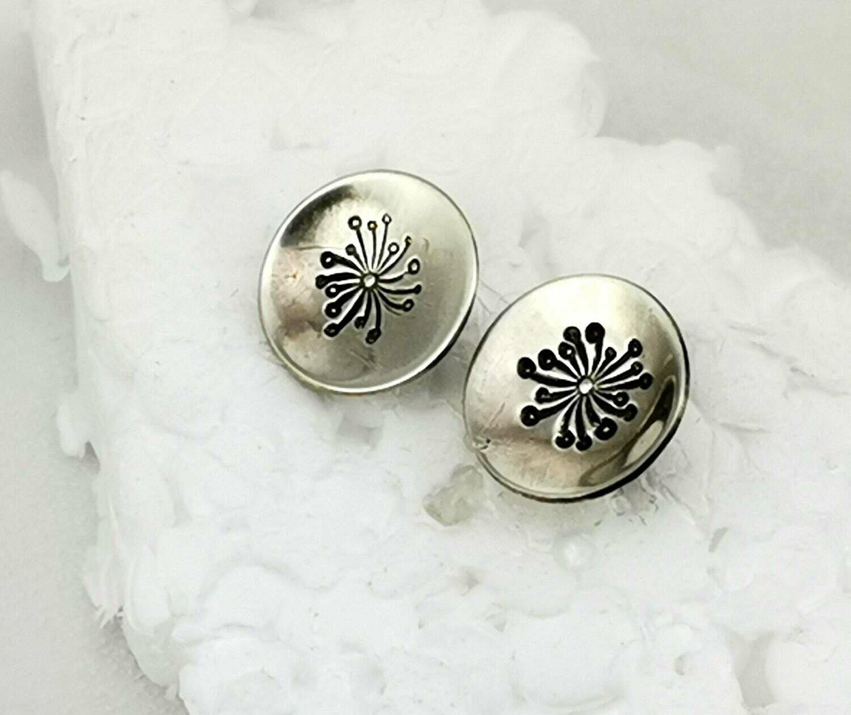 Dainty Dandelion Flower Sterling Silver Stud Earrings