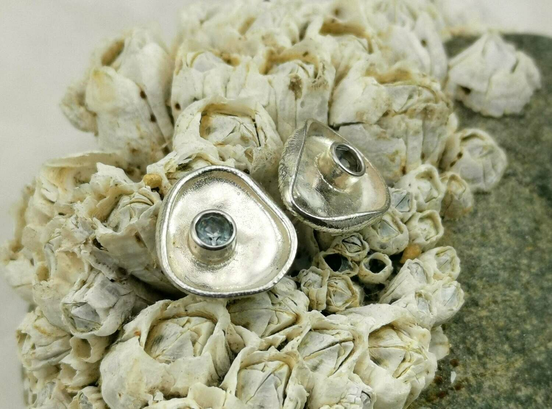 Organic Shaped Lab Aqua Marine Sterling Silver Tube Set Stud Earrings