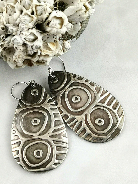 Sterling Silver Tribal Textured Tear Drop Earrings