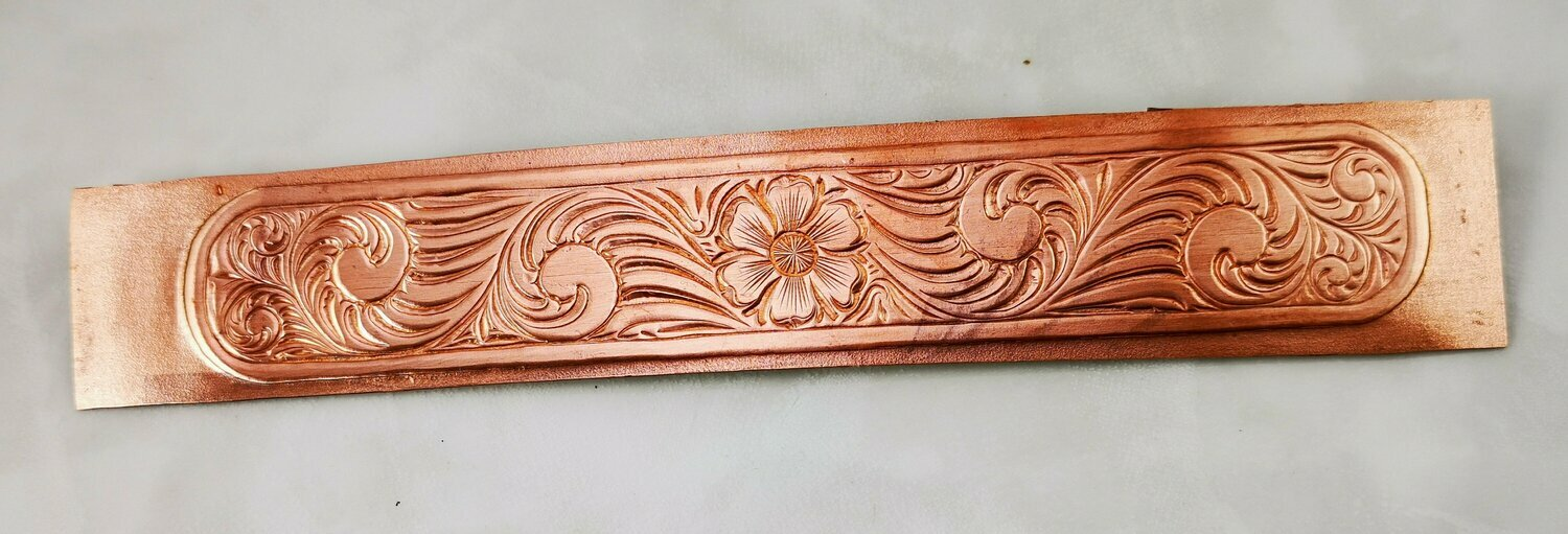Textured Copper Sheet Metal from a William (Bill) Rice Hand Engraved design