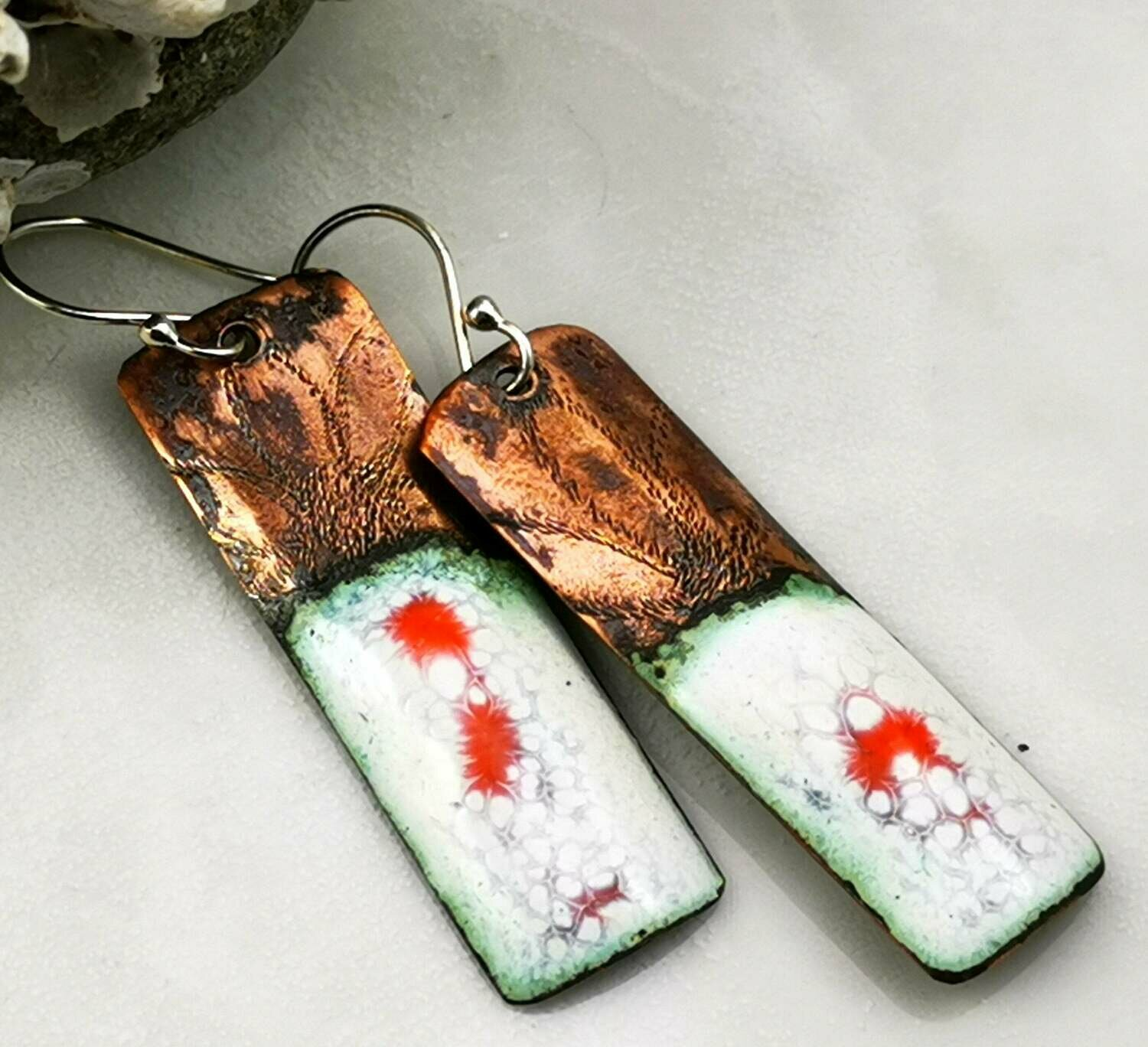 Orange and White Torch Fired Enamel Rectangle Drop Earrings with a Hand Engraved Sunflower on the upper part of Copper