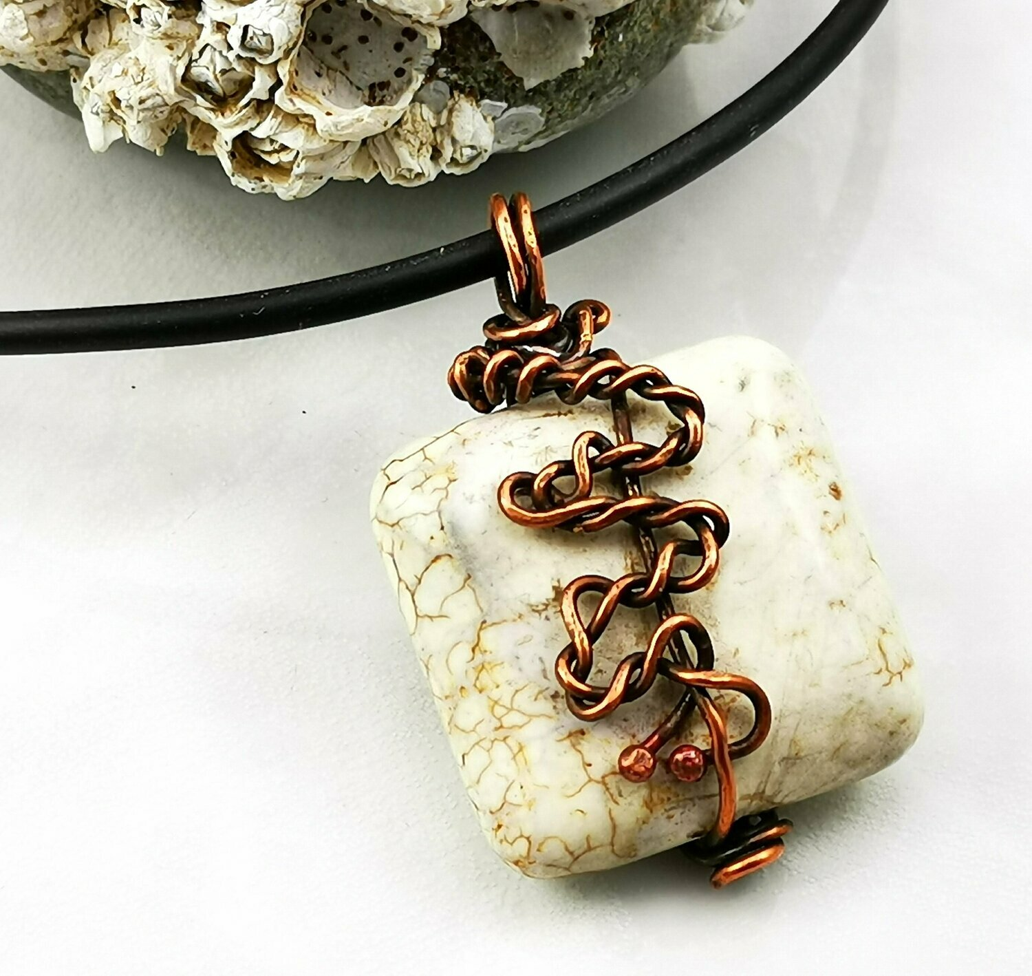 Wire Wrapped Earthy Natural Ivory Brown Veined Howlite Stone Pendant