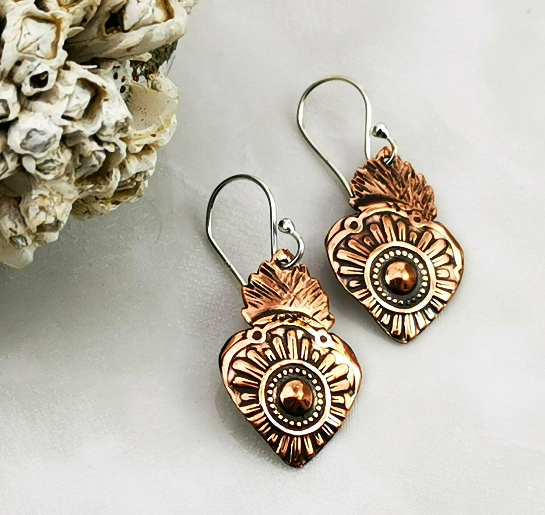 Milagros Sacred Heart Copper Earrings