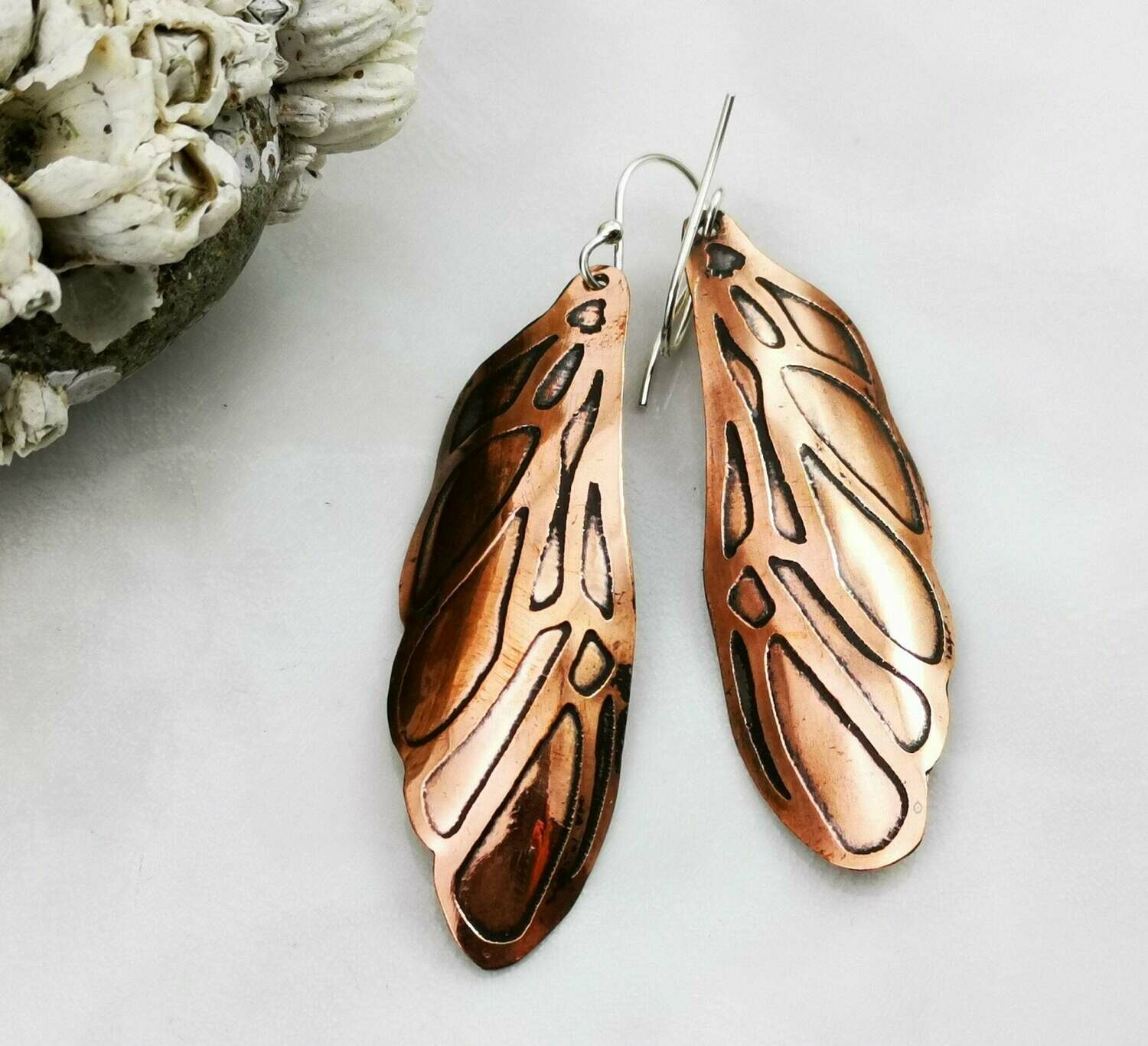 Etched Fairy / Dragonfly Wing Copper Earrings