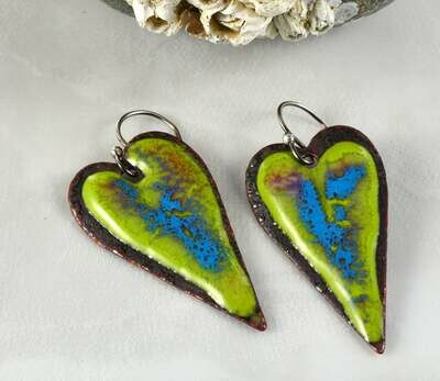 Gifts for Women, Blue Enamel Jewelry, Green Enamel Jewelry, Enamel Hearts, Enamel Copper, Torch Enameled, Heart Jewelry, Heart Earrings