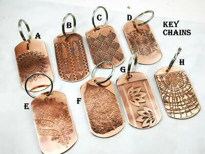 Textured Copper Key Chain Tags in choice of design