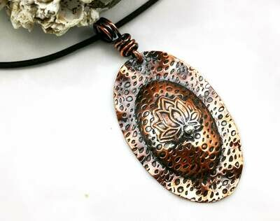 Copper Lotus Flower with a Fused Fine Silver bead Pendant