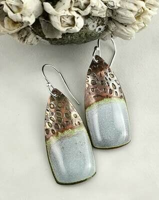 Gift Jewelry for Women, Hues of White, Blue and Gray with hints of Green Torch Fired Enamel Earrings on Pattern Textured Copper