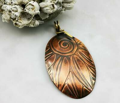 Flower Textured Copper Pendant with NuGold Wire Wrapped Bail