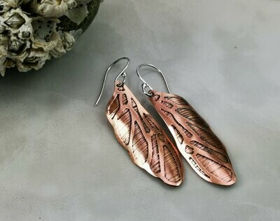 Etched Fairy Wing Copper Earrings
