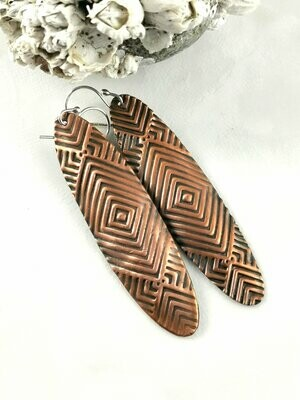 Funky Long Oval RETRO Tribal Textured Copper Earrings with a Deep Rich Patina