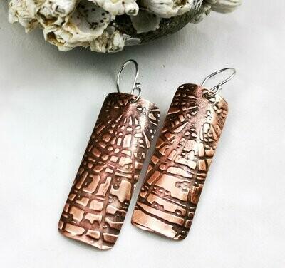Knotty Wood Grain Rectangle Copper Dangle Earrings