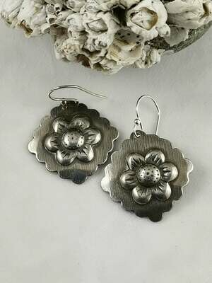 Sterling Silver Repousse Flower Earrings with scalloped edges