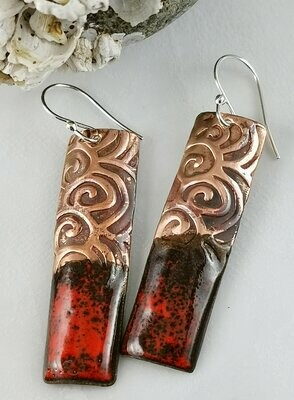 Torch Fired Red Enamel Earrings with Textured Copper