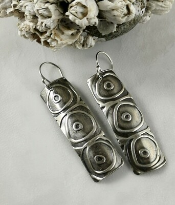 Tribal Vibe Circles in Circles Rectangle Sterling Silver Earrings