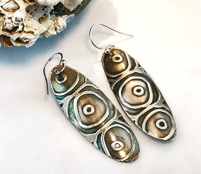Oval Shaped Tribal Vibe Circles Sterling Silver Earrings