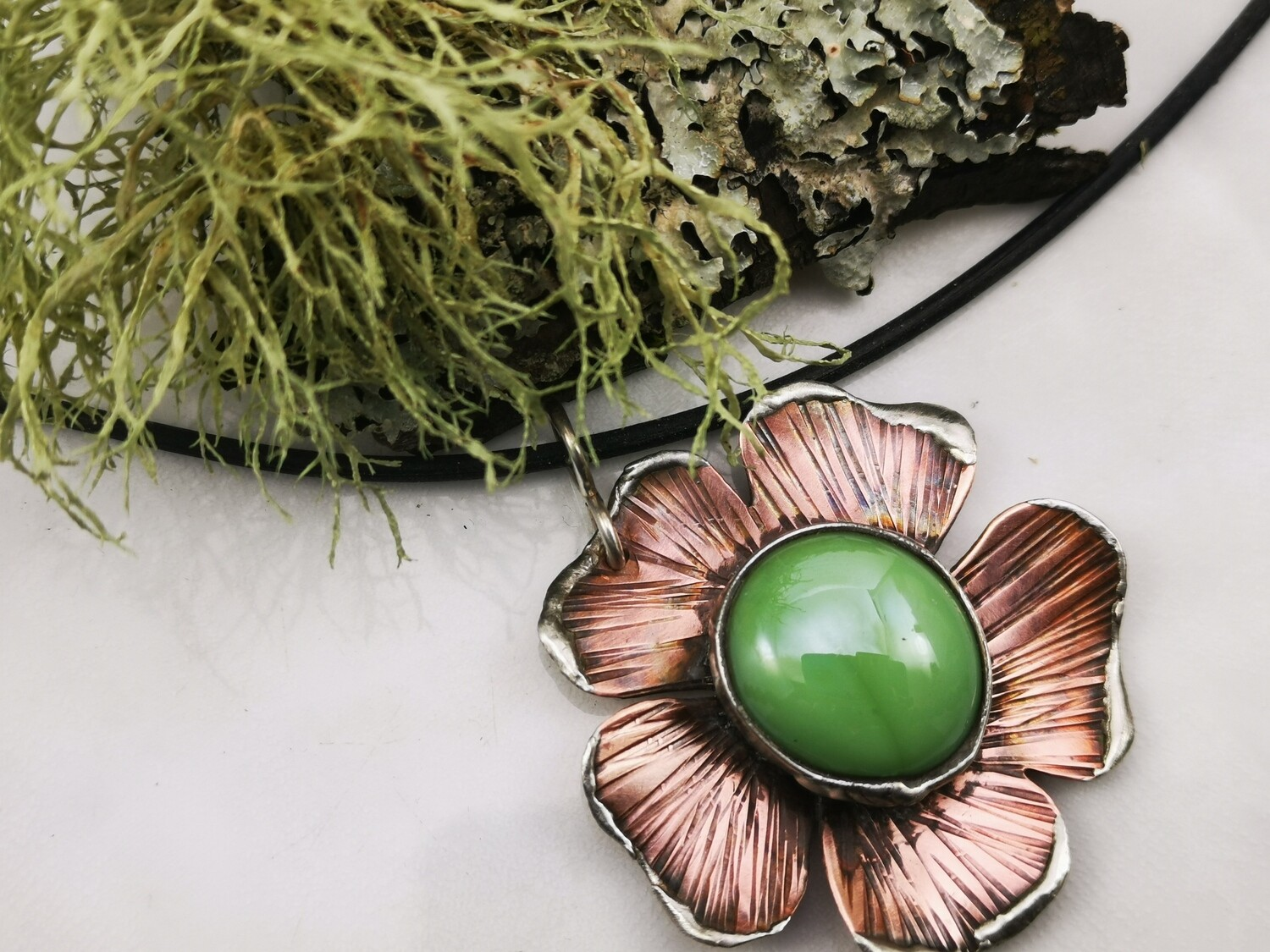 Rustic Earthy Organic Mixed Metal Hammer Textured Flower Pendant Necklace with Bezel Set Olive Green Glass Cabochon