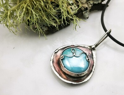 Rustic Earthy Organic Mixed Metal Pendant Necklace with Bezel Set Baby Blue Colored Glass Cabochon