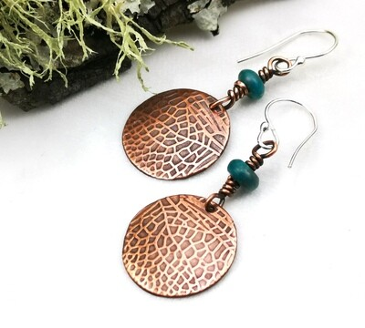 Round Fairy / Dragonfly Wing Textured Copper Earrings with wire wrapped blue green bead