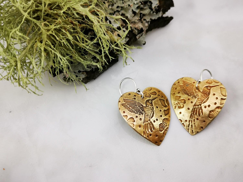 Hummingbird patterned Brass Heart Earrings