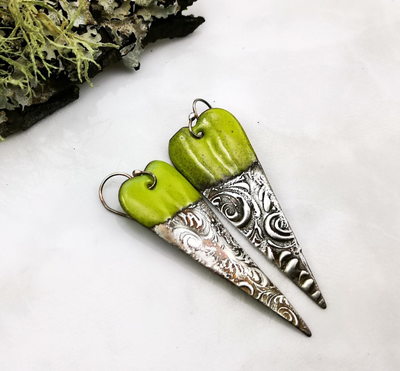 Green Enamel, Enameled Jewelry, Enameled Earrings, Heart Earrings, Copper Jewelry, Copper Earrings, Textured Solder, Torch Enameled, Heart Copper Earrings, Textured Solder, Soft Solder
