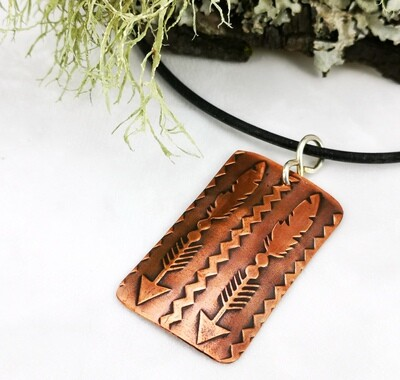 Textured Rectangle Feathers and Arrows Copper Pendant